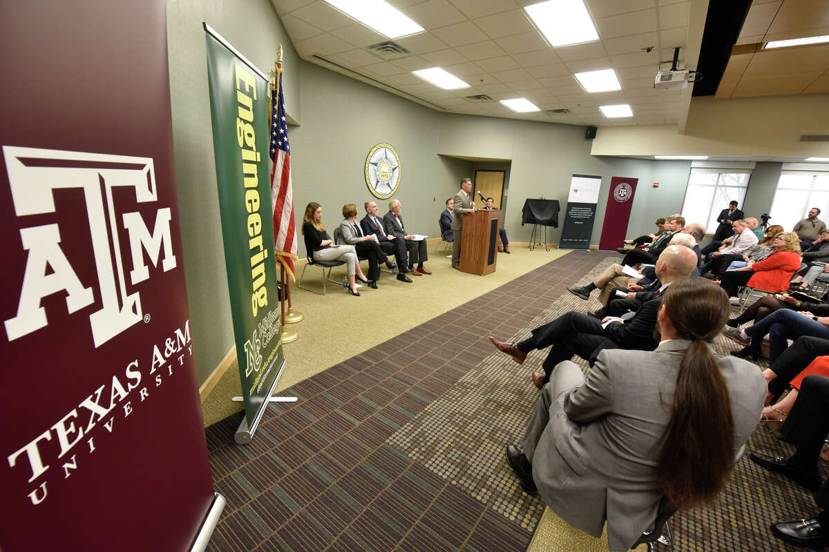 Announcement about the Texas A&M-Concho Engineering Academy, Feb. 14, 2019, in the Carrasco Room at Midland College. The program offers students the opportunity to pursue a degree in engineering while being co-enrolled at Midland College and Texas A&M University. James Durbin/Reporter-Telegram