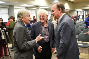 From left, State Rep. Tom Craddick, Midland oil legend Jim Henry, and John Sharp, Chancellor of the Texas A&M University system, talk following an announcement about the Texas A&M-Concho Engineering Academy, Feb. 14, 2019, in the Carrasco Room at Midland College. The program offers students the opportunity to pursue a degree in engineering while being co-enrolled at Midland College and Texas A&M University. James Durbin/Reporter-Telegram