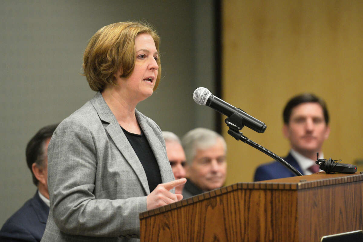 Dr. M. Katherine Banks, Vice Chancellor and Dean of Texas A&M Engineering, speaks during an announcement about the Texas A&M-Concho Engineering Academy, Feb. 14, 2019, in the Carrasco Room at Midland College. The program offers students the opportunity to pursue a degree in engineering while being co-enrolled at Midland College and Texas A&M University. James Durbin/Reporter-Telegram
