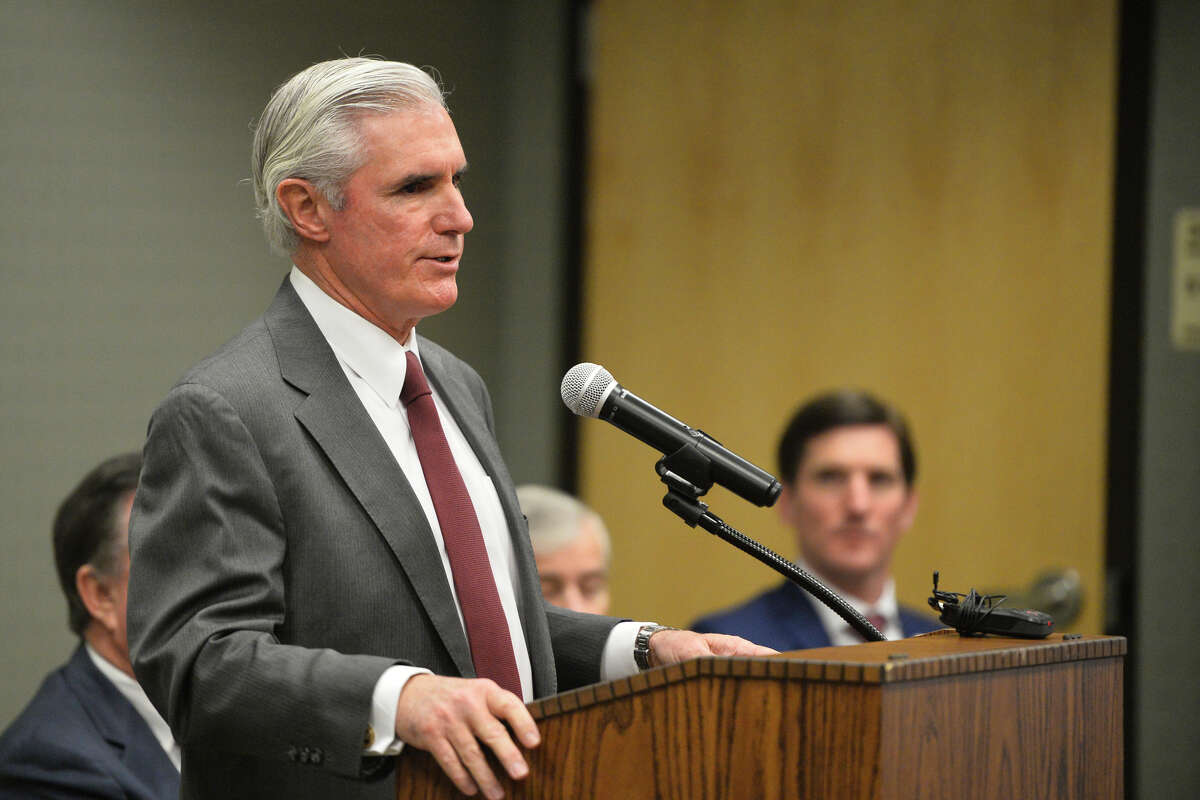 Tim Leach, Chairman and CEO of Concho Resources, speaks during an announcement about the Texas A&M-Concho Engineering Academy, Feb. 14, 2019, in the Carrasco Room at Midland College. The program offers students the opportunity to pursue a degree in engineering while being co-enrolled at Midland College and Texas A&M University. James Durbin/Reporter-Telegram