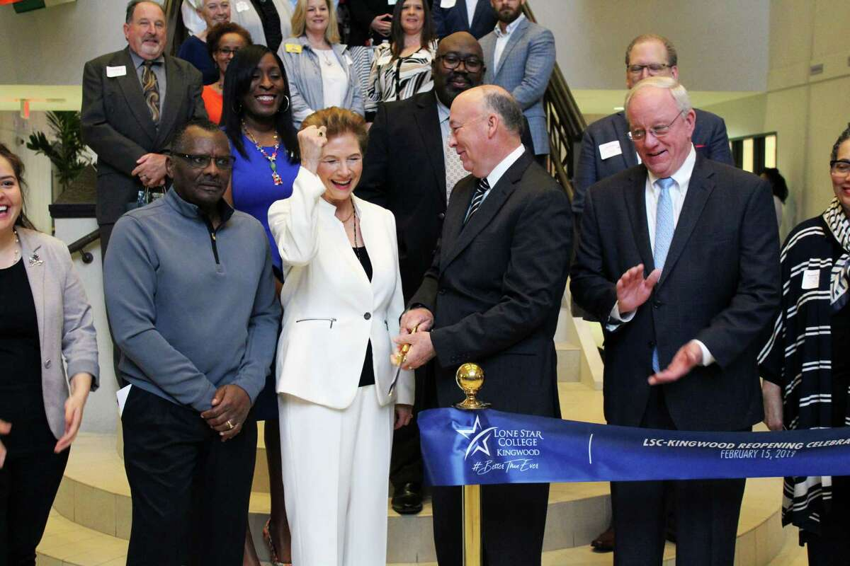 Lone Star College-Kingwood President Katherine Persson and Lone Star College System Chancellor Stephen Head cut the ribbon to mark the grand re-opening of the Lone Star College-Kingwood campus on Feb. 15, 2019.