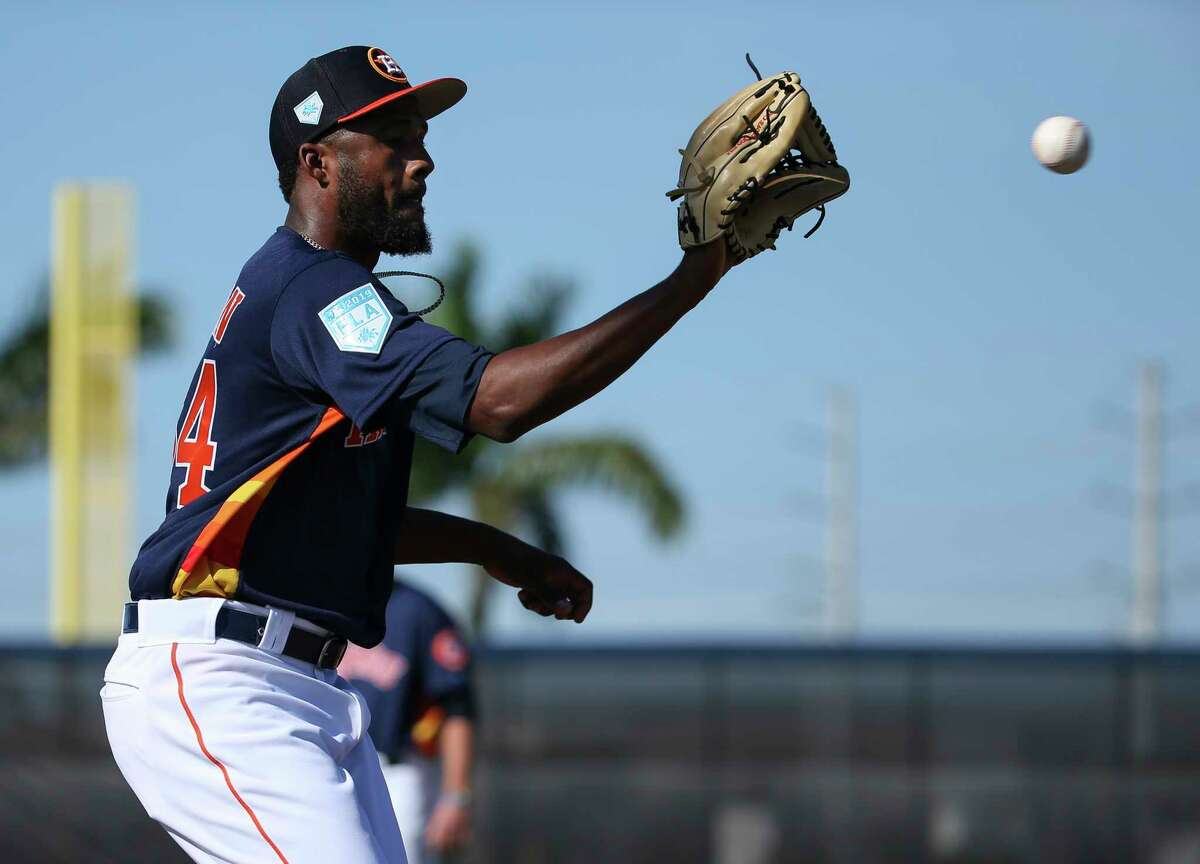 PHOTOS:Houston Astros top prospects in 2019 Houston Astros left handed pitches Reymin Guduan (64) works on catching a pass at first base at Fitteam Ballpark of The Palm Beaches on Day 2 of spring training on Friday, Feb. 15, 2019, in West Palm Beach. >>>See the Houston Astros' top prospects heading into the 2019 season ...