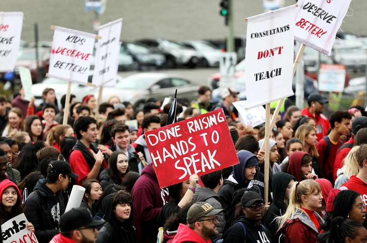 Oakland Tech High School students march along Broadway Ave. during a protest in Oakland, Calif., on Friday, February 8, 2019. Oakland Tech High School students are actively protesting to support Oakland Unified School Districts teachers who are threatening to strike if the district doesn't meet their contract demands.