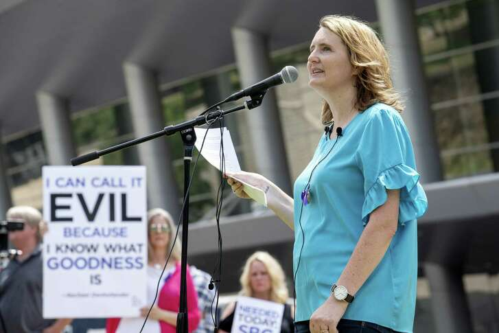 In 2018, rape survivor and abuse victim advocate Mary DeMuth spoke in Dallas during a rally protesting the Southern Baptist Convention's treatment of women.