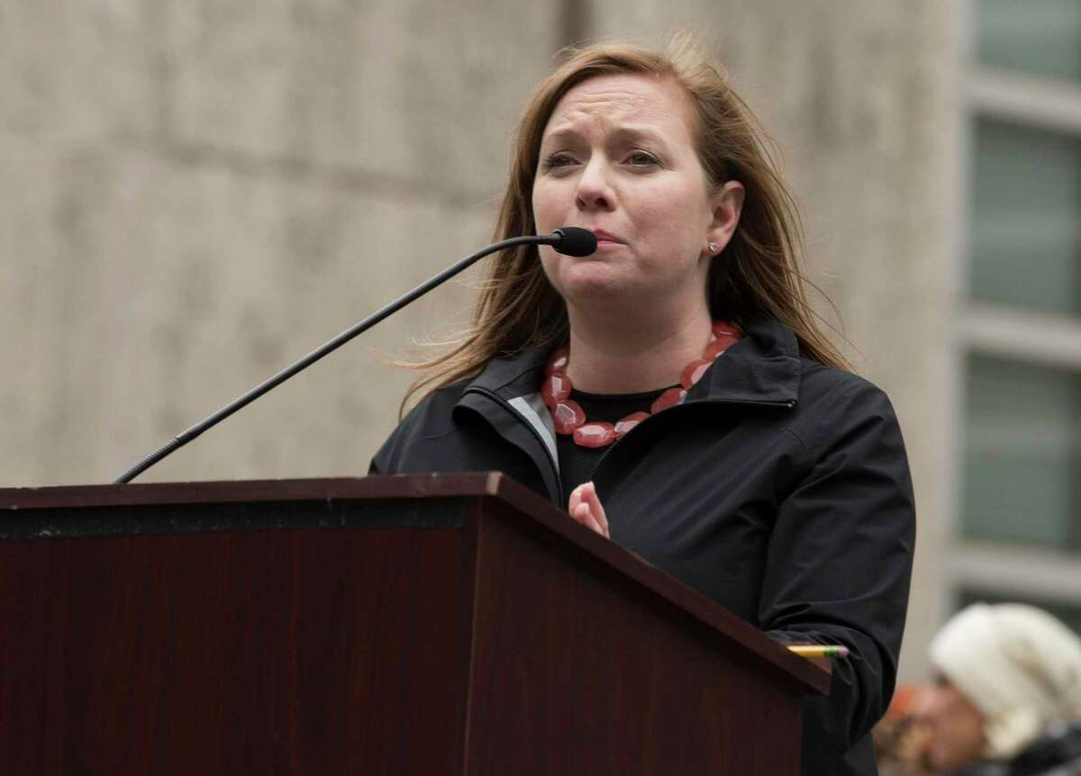 Freshman U.S. Rep. Lizzie Fletcher delivers a speech at the Houston Women March On rally at Houston City Hall on Saturday, Jan. 19, 2019, in Houston.
