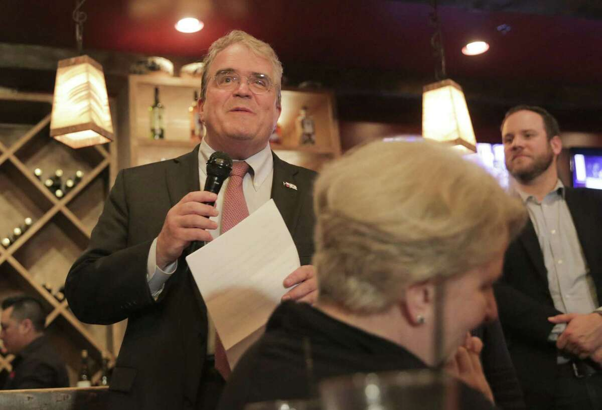 Former Rep. John Culberson addresses supporters at his watch party at Sylvia's Enchiladas in Houston on Nov. 6. Culberson lost his seat to Democratic challenger Lizzie Fletcher.