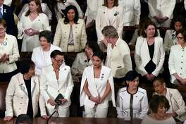 House Democratic women, including Rep. Alexandria Ocasio-Cortez (D-N.Y.), middle, are dressed in white for President Trump's State of the Union address to a joint session of Congress on Capitol Hill in Washington, D.C., on Feb. 5. A reader is amazed to see women of each political party banding together and demanding a voice.