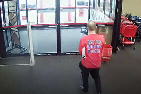 """Lacey Police identified Tim Eyman as the man wearing a """"Let the voter decide"""" shirt while shoplifting a $70 office chair from a Lacey Office Depot, Wednesday Feb. 13."""