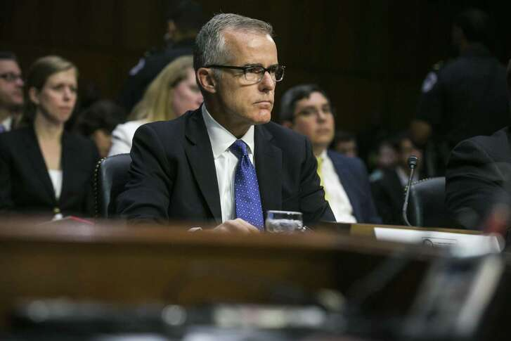 FILE -- Andrew McCabe, then the acting FBI director, during a Senate Intelligence Committee hearing in Washington, May 11, 2017. McCabe said in an interview aired on Feb. 14, 2019, that top Justice Department officials were so alarmed by President Donald Trump's decision in May 2017 to fire James Comey, then the bureau's director, that they discussed whether to recruit cabinet members to invoke the 25th Amendment to remove Trump from office. (Al Drago/The New York Times)