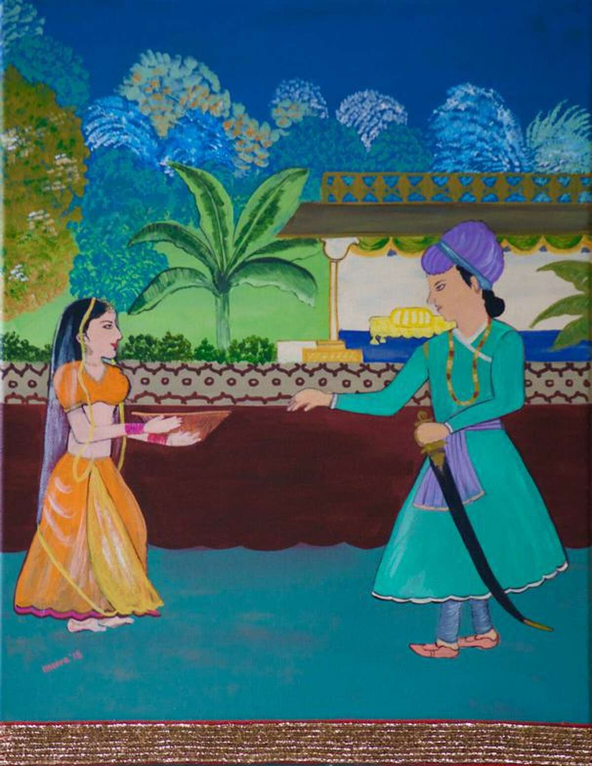 """""""Blessings Before Battle,"""" a painting by Meera Agarwal, is part of the """"Junctures & Constellations"""" exhibit of India and North America Contemporary Art from India and the Diaspora presented by The India Cultural Center of Greenwich & The Greenwich Arts Council. It is on display through Feb. 22."""