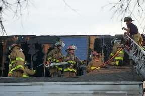 A fire at an apartment complex left 10 families homeless and four dogs dead at the Oasis at Oakwell, Friday Feb. 15, 2019.