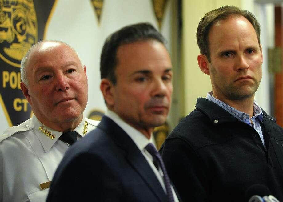 From left; Bridgeport Police Chief A.J. Perez, Mayor Joe Ganim, and detective bureau head Captain Brian Fitzgerald address the media. Photo: Brian A. Pounds / Hearst Connecticut Media / Connecticut Post