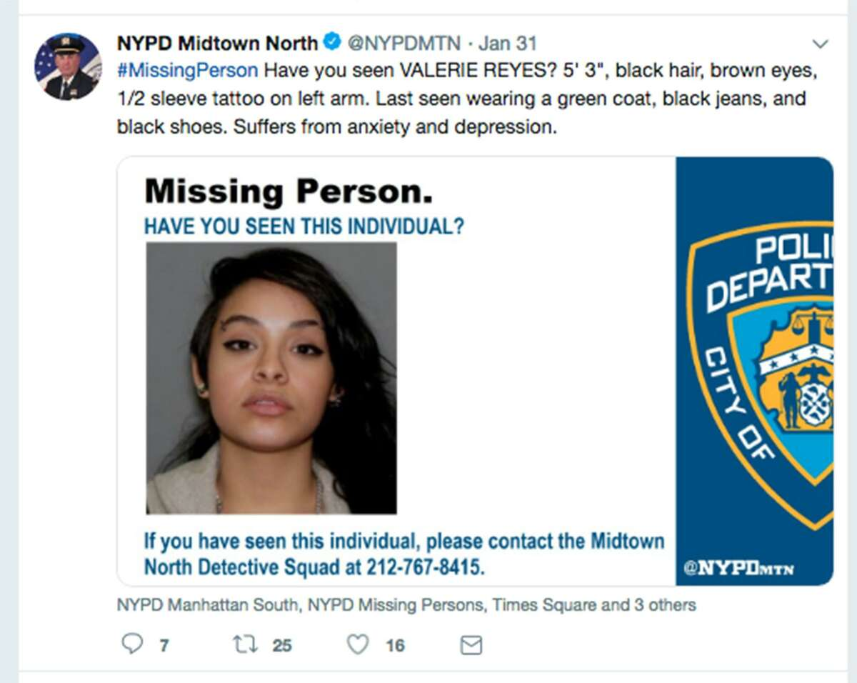 New York City police were among those alerting the public, hoping to find Valerie Reyes. Reyes, a 24-year-old who disappeared last month in New Rochelle, N.Y., has been identified by Greenwich police as the woman found dead with her body, bound at the feet and hands, stuffed inside a suitcase. (New York Police Department Twitter screenshot/TNS)