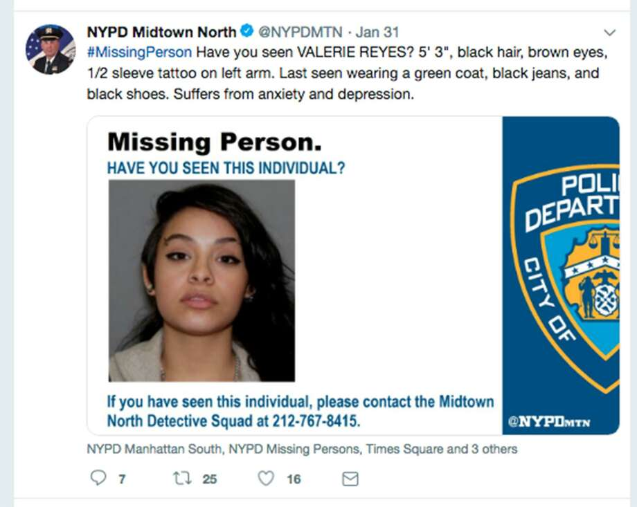 New York City police were among those alerting the public, hoping to find Valerie Reyes. Reyes, a 24-year-old who disappeared last month in New Rochelle, N.Y., has been identified by Greenwich police as the woman found dead with her body, bound at the feet and hands, stuffed inside a suitcase. (New York Police Department Twitter screenshot/TNS) Photo: New York Police Department / TNS / TNS
