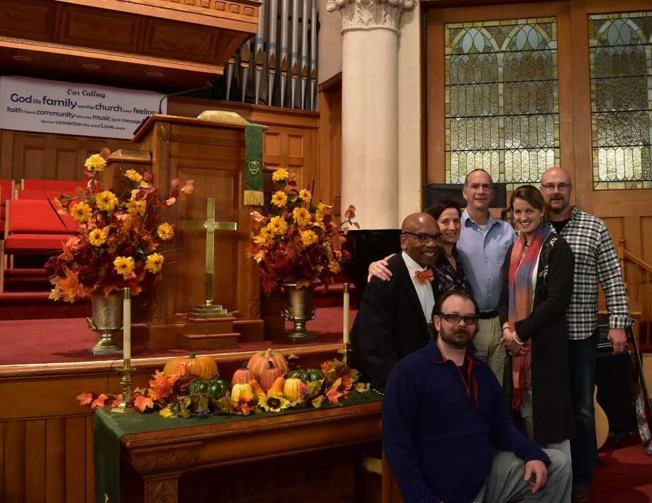 "First Church of Winsted (95 Park Place, Winsted) will celebrate ""Black History Sunday"" during its 10 a.m. service. Above, Elder Kenric Prescott, is joined by members of the interim search committee (Frank Artruc, Kim Janak, Jay Nanni, Ashley Fontanez and Daniel Jones. Not pictured is Holly Cassaday. Photo: Contributed Photo /"