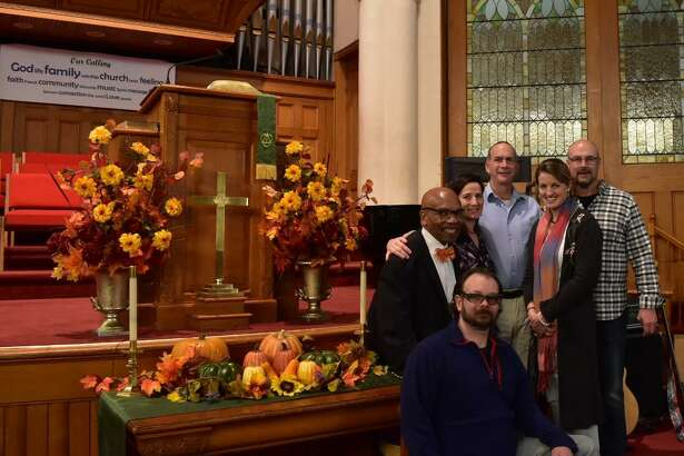 "First Church of Winsted (95 Park Place, Winsted) will celebrate ""Black History Sunday"" during its 10 a.m. service. Above, Elder Kenric Prescott, is joined by members of the interim search committee (Frank Artruc, Kim Janak, Jay Nanni, Ashley Fontanez and Daniel Jones. Not pictured is Holly Cassaday."
