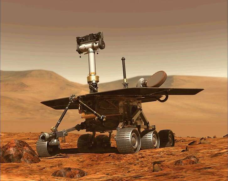 """(FILES) This file computer generated image obtained on August 31, 2018 shows the Opportunity rover of NASA part of the Mars planet exploration program. - US space agency NASA will make one final attempt to contact its Opportunity Rover on Mars late February 12, 2019, eight months after it last made contact.  The agency also said it would hold a briefing February 13, 2019, during which it will likely officially declare the end of the mission.Opportunity landed on Mars in 2004 and covered 28 miles (45 kilometers) on the planet, securing its place in history after lasting well beyond its expected 90-day mission. (Photo by - / NASA / AFP) / RESTRICTED TO EDITORIAL USE - MANDATORY CREDIT """"AFP PHOTO / NASA """" - NO MARKETING - NO ADVERTISING CAMPAIGNS - DISTRIBUTED AS A SERVICE TO CLIENTS-/AFP/Getty Images"""