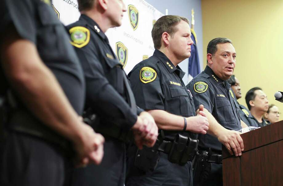 Houston Police Chief Art Acevedo talks to the media during a press conference at the police station on Thursday, Feb. 15, 2018 in Houston. Acevedo was updating the media on the investigation on the officer-involved shooting incident at 7815 Harding on Jan. 28, 2019 that left the homeowners dead and five police officers injured. Photo: Elizabeth Conley, Houston Chronicle / Staff Photographer / © 2018 Houston Chronicle
