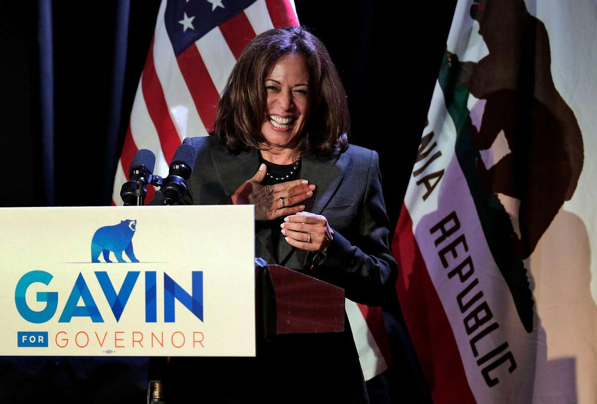 Senator Kamala Harris speaks on stage during a campaign event for Lt. Governor Gavin Newsom at The Chapel the night before the midterm elections in San Francisco, Calif., on Monday, November 5, 2018. Newsroom was joined by his wife Jennifer Siebel Newsom, Senator Kamala Harris, and out-going California Governor Jerry Brown, with a quick appearance by San Francisco Mayor London Breed.