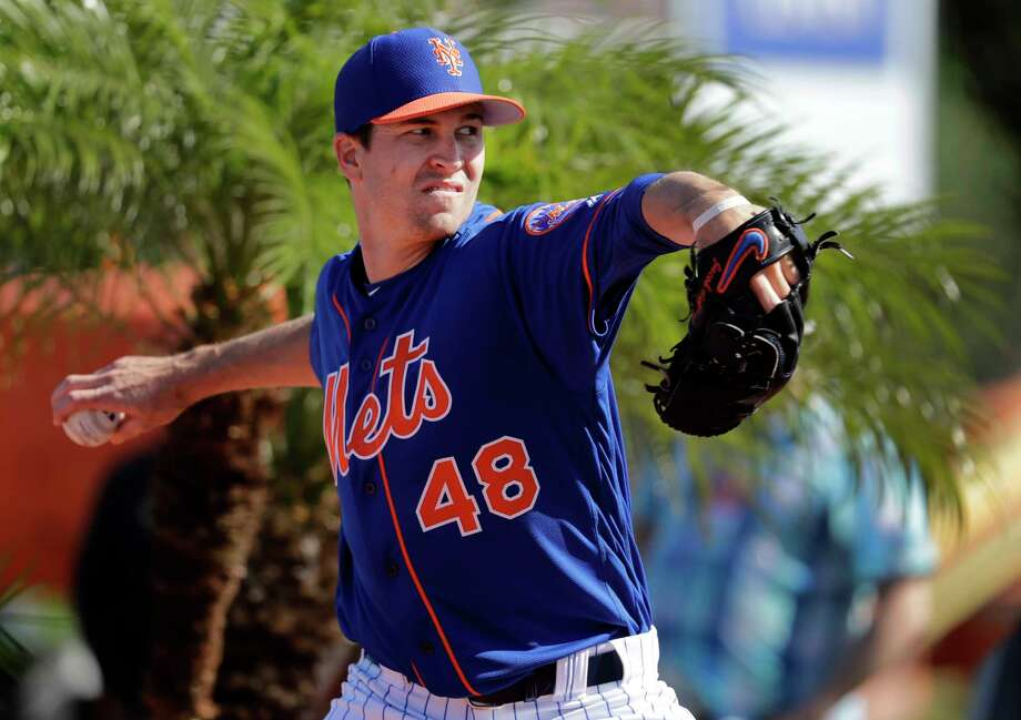 New York Mets pitcher Jacob deGrom throws a bullpen session during spring training baseball practice Thursday, Feb. 14, 2019, in Port St. Lucie, Fla. (AP Photo/Jeff Roberson) Photo: Jeff Roberson / Copyright 2019 The Associated Press. All rights reserved.