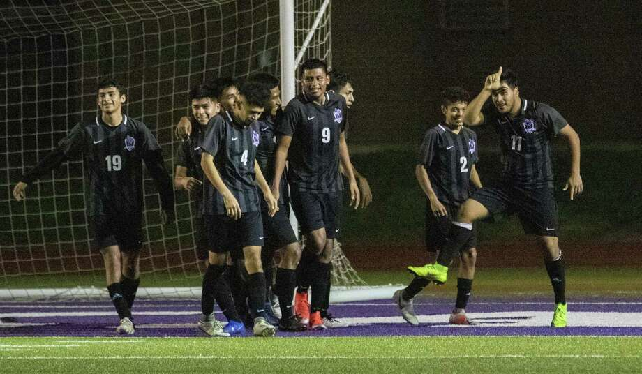Jesus Frias (17) of Willis dances around after scoring in the second half of a District 20-5A high school soccer game Friday, Feb. 15, 2019 in Willis. Photo: Cody Bahn, Houston Chronicle / Staff Photographer / © 2018 Houston Chronicle