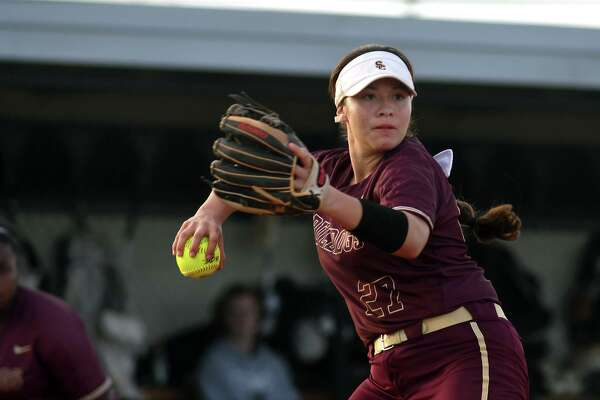 Summer Creek sophomore pitcher Derika Castillo makes a play to first base against a Katy Paetow hitter during their matchup in the Katy ISD Invitational Varsity Softball Tournament at Paetow High School on Feb.14, 2019.