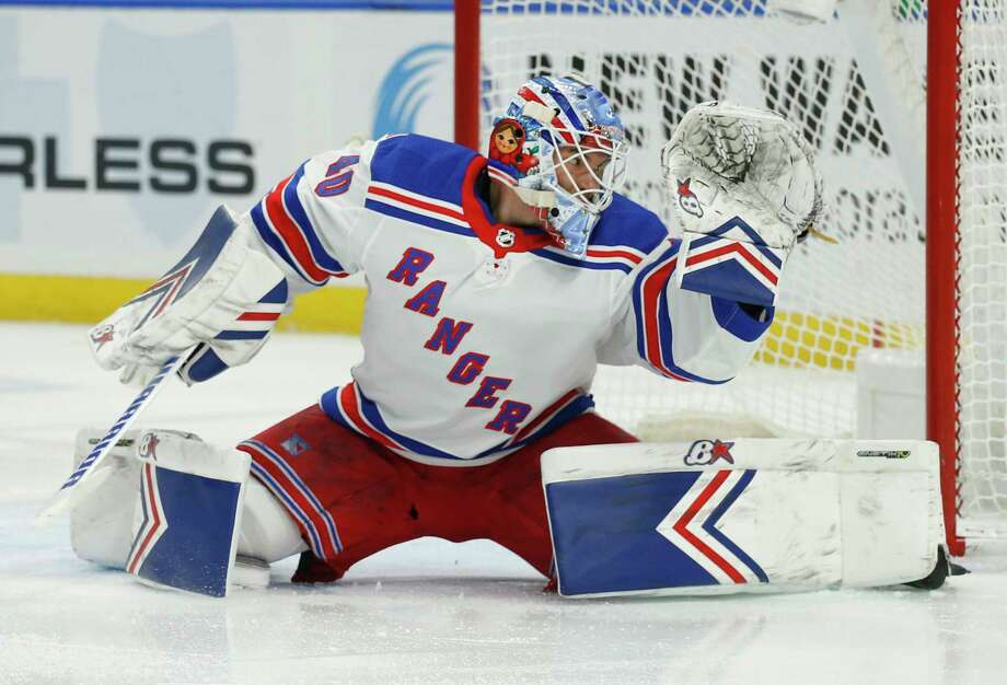 New York Rangers goalie Alexandar Georgiev (40) makes a save during the first period of an NHL hockey game against the Buffalo Sabres, Friday, Feb. 15, 2019, in Buffalo N.Y. (AP Photo/Jeffrey T. Barnes) Photo: Jeffrey T. Barnes / Copyright 2019. The Associated Press. All Rights Reserved.