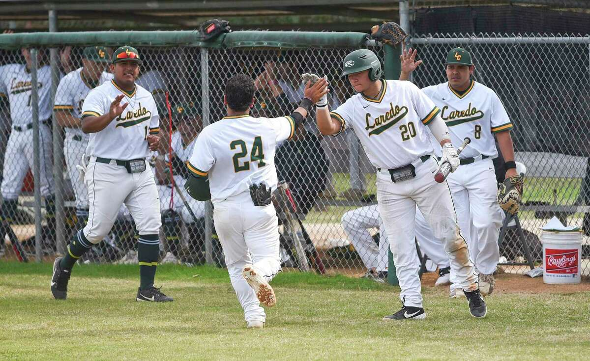 Laredo College's baseball team celebrates in 2019 during a game on Feb. 15, 2019 with El Paso College. That season remains the last time the Palominos have had any athletic programs, as the board of trustees announced sports would not return in 2021 this week.