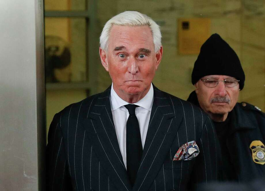 In this Feb. 1, 2019 photo, former campaign adviser for President Donald Trump, Roger Stone, leaves federal court in Washington.   U.S. District Judge Amy Berman Jackson has issued a gag order in the case of Donald Trump confidant Roger Stone.  Jackson said in an order Friday that both sides must refrain from making statements to the media or the public that could prejudice the case.  (AP Photo/Pablo Martinez Monsivais) Photo: Pablo Martinez Monsivais / Copyright 2018 The Associated Press. All rights reserved