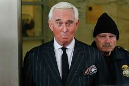In this Feb. 1, 2019 photo, former campaign adviser for President Donald Trump, Roger Stone, leaves federal court in Washington. U.S. District Judge Amy Berman Jackson has issued a gag order in the case of Donald Trump confidant Roger Stone. Jackson said in an order Friday that both sides must refrain from making statements to the media or the public that could prejudice the case. (AP Photo/Pablo Martinez Monsivais)