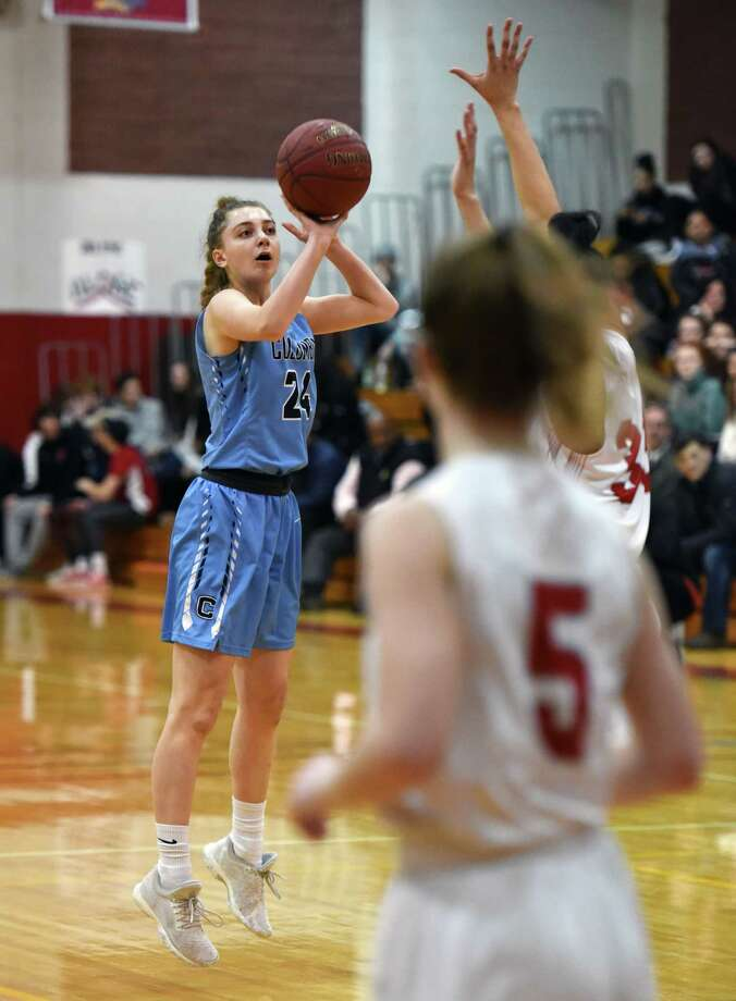Columbia forward Lauren Obermayer shoots a three-pointer during a game against Niskayuna Friday, Feb. 15, 2019 at Niskayuna High School in Niskayuna, NY. (Phoebe Sheehan/Times Union) Photo: Phoebe Sheehan / 40046203A