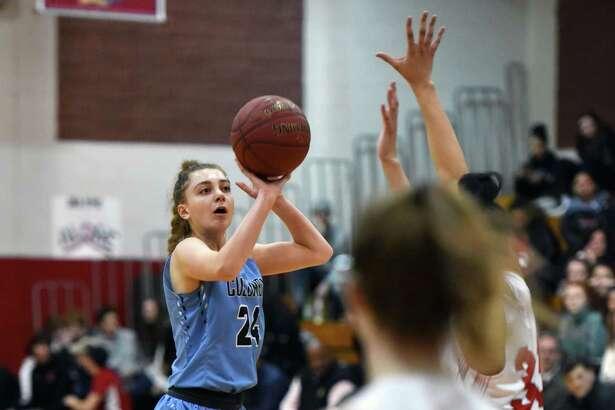 Columbia forward Lauren Obermayer shoots a three-pointer during a game against Niskayuna Friday, Feb. 15, 2019 at Niskayuna High School in Niskayuna, NY. (Phoebe Sheehan/Times Union)
