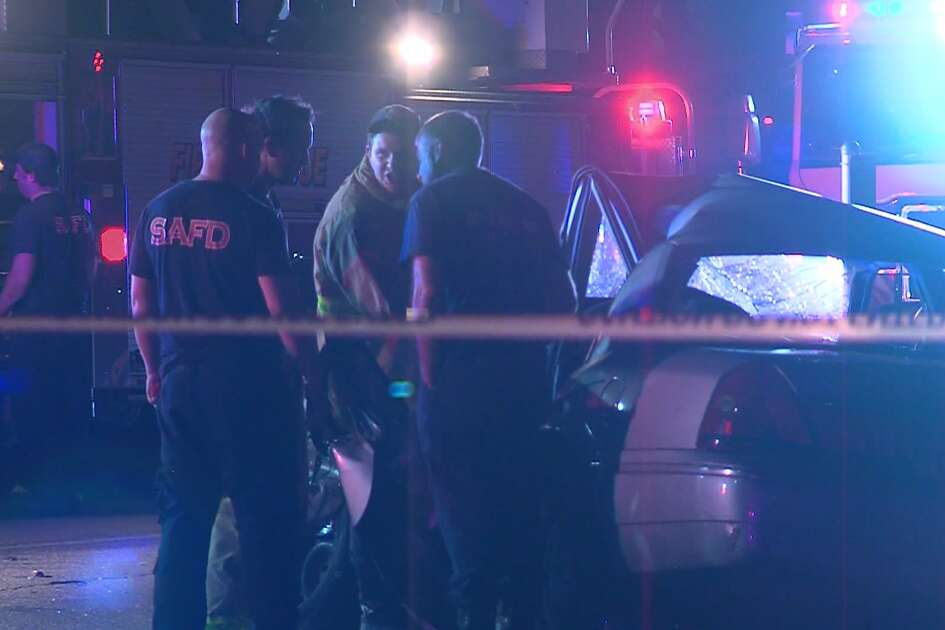 San Antonio police say a driver was seriously injured after being pinned in his vehicle in a head-on collision Saturday, Feb. 16, 2019. The other driver fled, according to police.