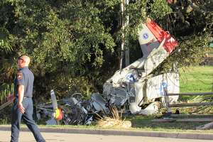 Officials say two men were injured after a experimental fixed-wing aircraft crashed in Horseshoe Bay Friday, Feb. 15, 2019.