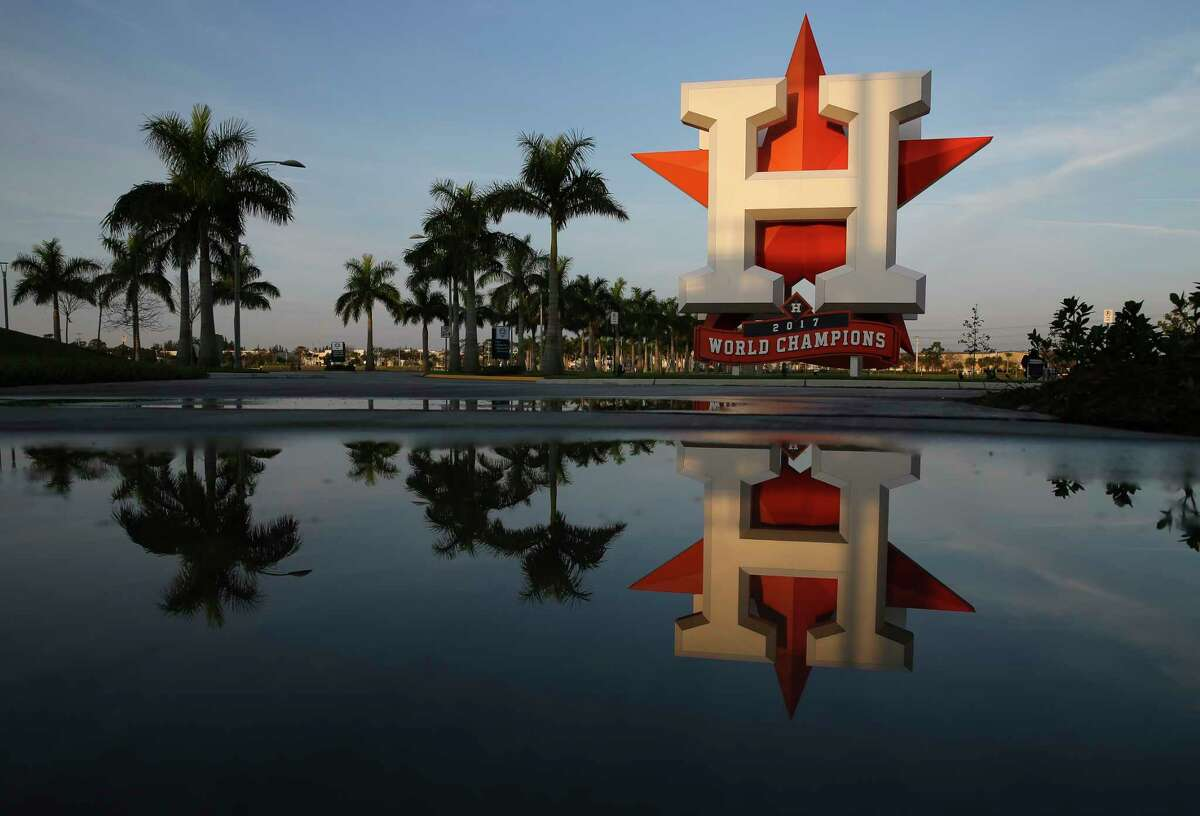 """Reflection of the Houston Astros' """"H"""" sign is photographed at Fitteam Ballpark of The Palm Beaches on Day 3 of spring training on Saturday, Feb. 16, 2019, in West Palm Beach."""