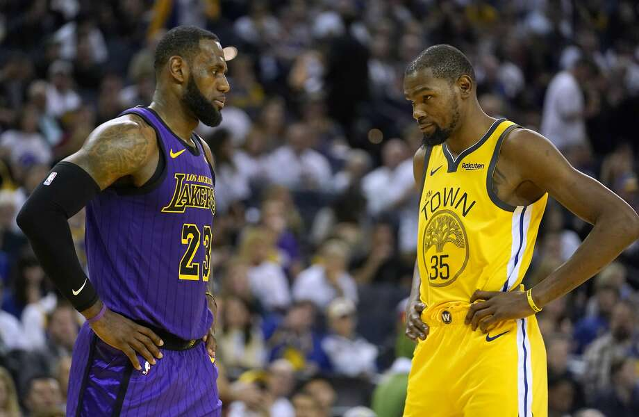 8aeb7e57318 Los Angeles Lakers forward LeBron James and Golden State Warriors forward  Kevin Durant say they stand