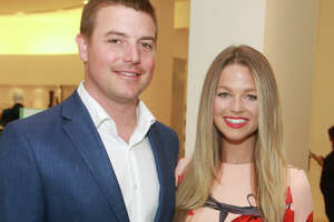Astros pitcher Joe Smith and wife, Allie LaForce at luncheon they hosted benefiting Help Cure HD.