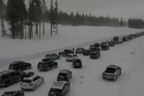 An accident near Donner Pass stopped eastbound traffic on I-80 heading towards Truckee.