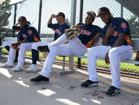 Houston Astros young pitchers Houston Astros right handed pitchers Jose Hernandez, from left, Framber Valdez, Bryan Abreu (88), Reymin Guduan and Erasmo Pinales are playful before Day 3 of spring training at Fitteam Ballpark of The Palm Beaches on Saturday, Feb. 16, 2019, in West Palm Beach.