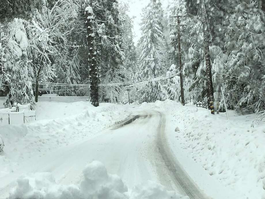 Pollock Pines, about 50 miles away from Lake Tahoe, was covered in snow. Many tourists stopped in Pollock Pines when Highway 50 shut down intermittently to allow for avalanche control. Photo: Courtesy Barbara Arenz