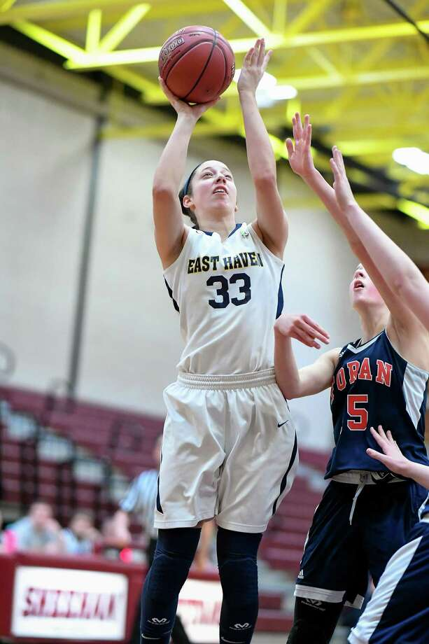East Haven's Taylor Salato goes up for a shot on Saturday against Foran in the SCC girls basketball tournament quarterfinals. Photo: David G Whitham / For Hearst Connecticut Media / DGWPhotography
