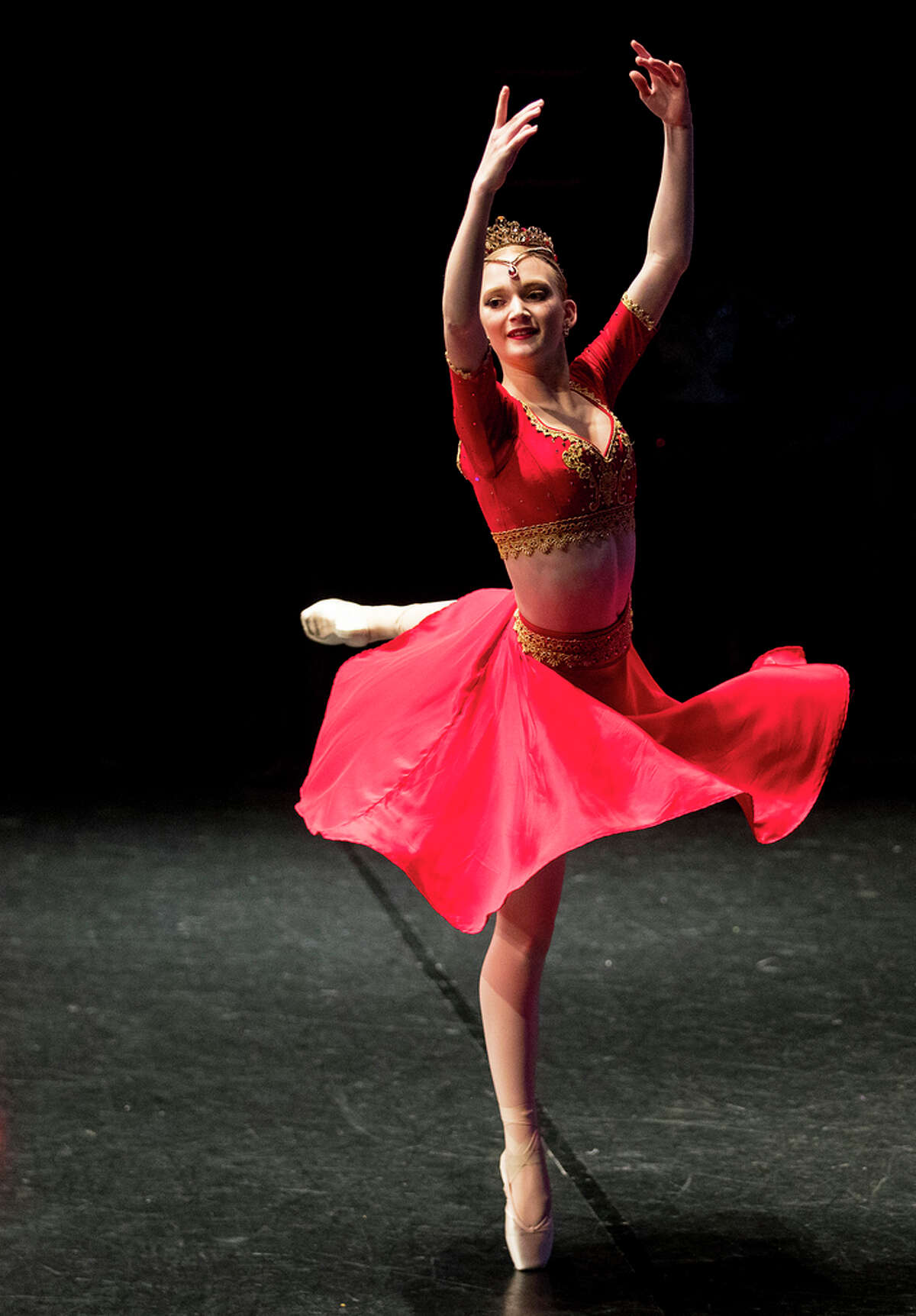 Eliza Sell performs during the Youth America Grand Prix semi-finals at CullenPerformanceHall on Saturday, Feb. 16, 2019, in Houston. Hundreds of young ballet dancers - ages 9 to 19 - from all over Texas auditioned for the Youth America Grand Prix. Students are attending workshops, dance classes, and audition in hopes of making finals week in New York, where scholarships to top schools and companies will be awarded.