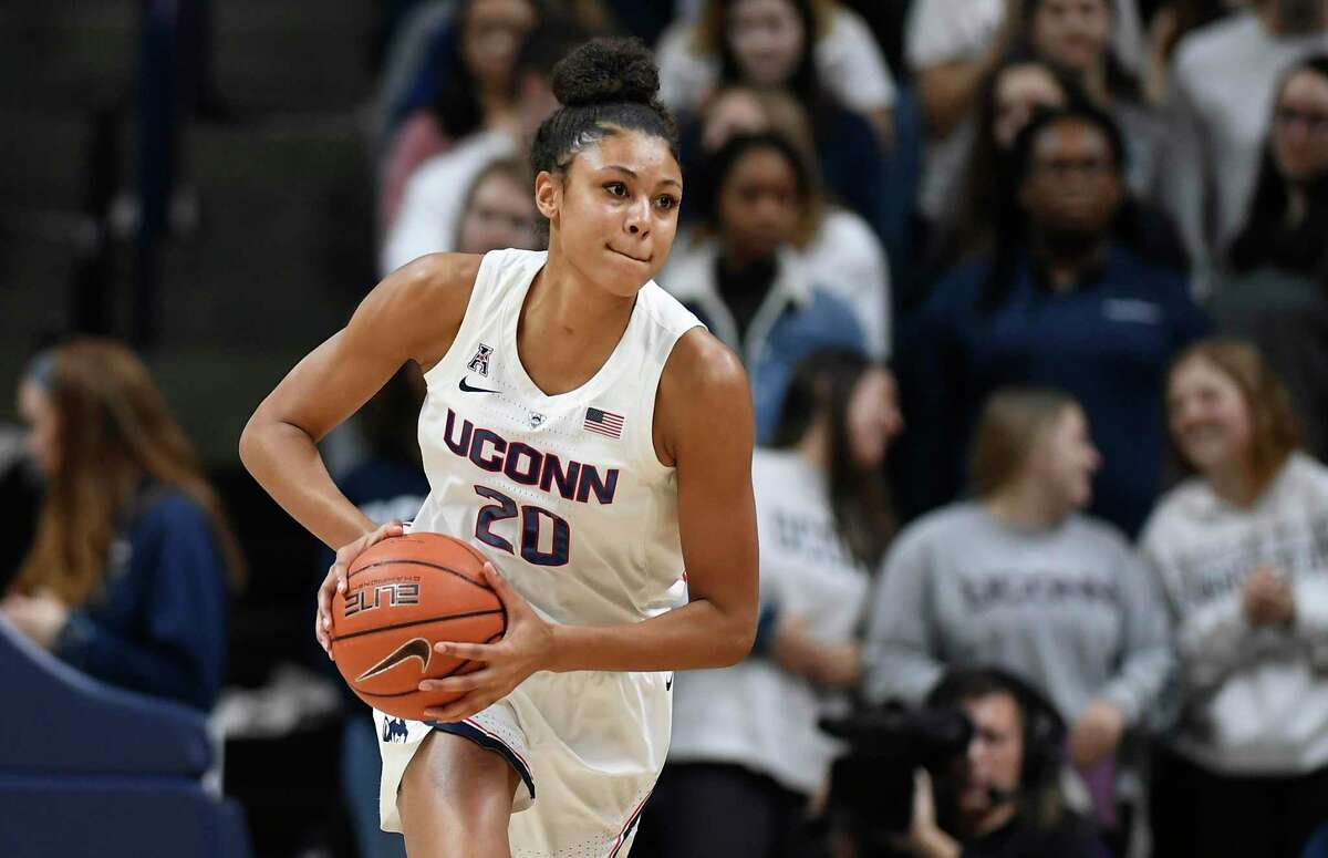 Connecticut's Olivia Nelson-Ododa during an NCAA college basketball game, Thursday, Jan. 24, 2019, in Storrs, Conn. (AP Photo/Jessica Hill)