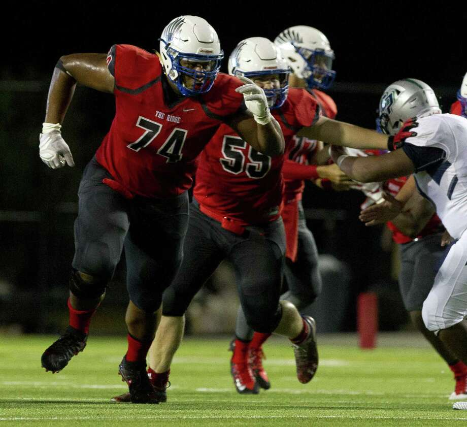 Oak Ridge offensive lineman Tyler Johnson (74) looks to block down field during the first quarter of a District 15-6A high school football game at Woodforest Bank Stadium, Friday, Oct. 12. 2018, in Shenandoah. Photo: Jason Fochtman, Houston Chronicle / Staff Photographer / © 2018 Houston Chronicle