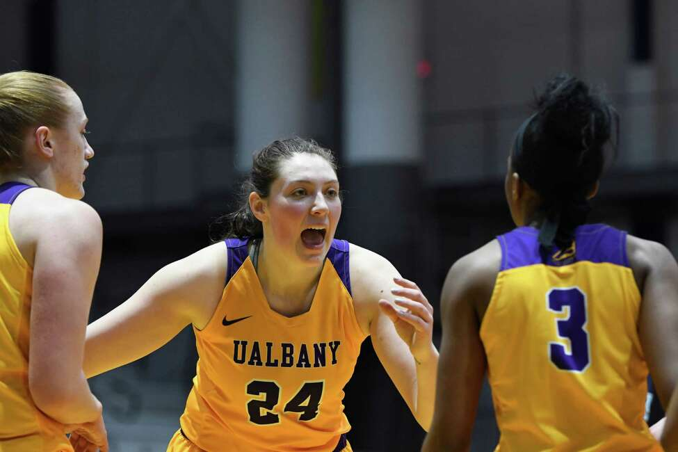 UAlbany's Alexi Schecter speaks to her teammates prior to a Maine foul shot during a game at SEFCU Center on Saturday, Feb. 16, 2019 in Albany, N.Y. (Jenn March, Special to the Times Union)