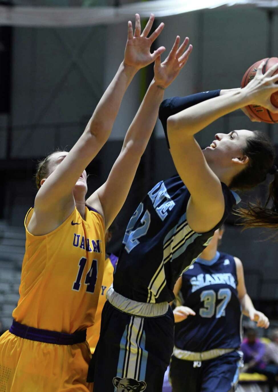 UAlbany's Amanda Kantzy guards Maine's Blanca Millan as she attempts a basket during a game at SEFCU Center on Saturday, Feb. 16, 2019 in Albany, N.Y. (Jenn March, Special to the Times Union)