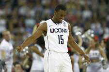 UConn guard Kemba Walker reacts after scoring against Kentucky during an NCAA Tournament semifinal game in April 2011.