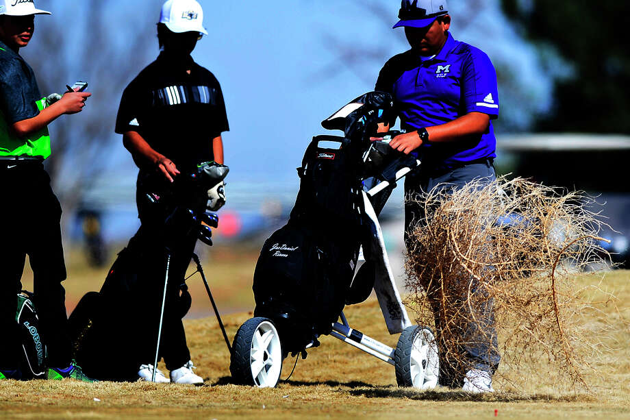 A tumbleweed blows by Monahans' Matthrew Madrid, Big Springs' Carlos Garcia, and Midland High's Daniel Rivera during the Tall City Golf Invitational Feb. 16, 2019 at Hogan Park Golf Course. James Durbin/Reporter-Telegram Photo: James Durbin / © 2019 Midland Reporter-Telegram. All Rights Reserved.