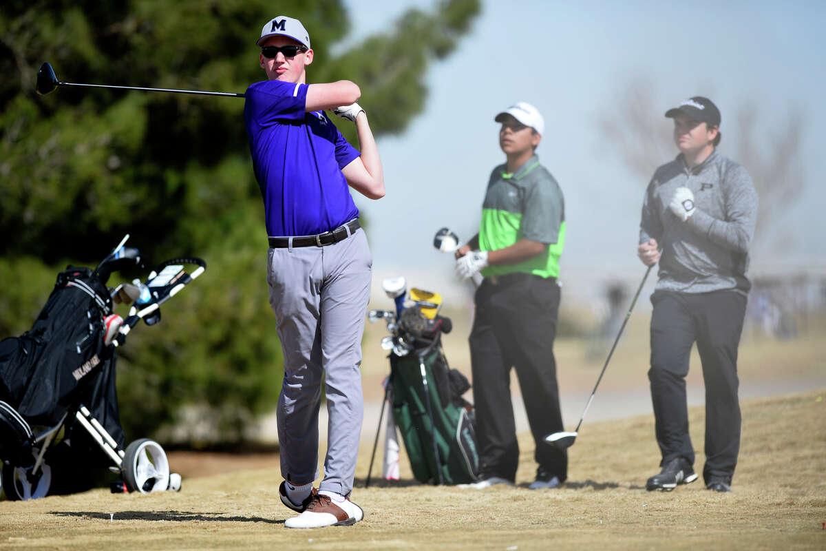 Midland High's Joe Lesnick tees off during the Tall City Golf Invitational Feb. 16, 2019 at Hogan Park Golf Course. James Durbin/Reporter-Telegram