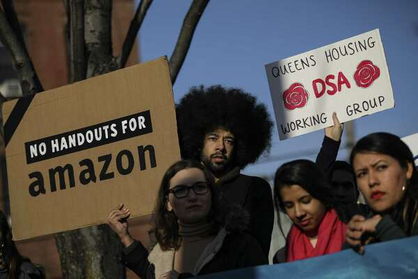 NEW YORK, NY - FEBRUARY 14: Activists and community members who opposed Amazon's plan to move into Queens rally in celebration of Amazon's decision to pull out of the deal, in the Long Island City neighborhood, February 14, 2019 in the Queens borough of New York City. Amazon said on Thursday that they are cancelling plans to build a corporate headquarters in Long Island City, Queens after coming under harsh opposition from some local lawmakers and residents. (Photo by Drew Angerer/Getty Images)